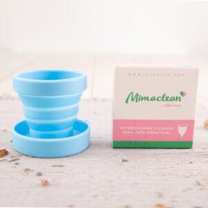 Esterilizador copa mestrual plegable de silicona Mimacup en azul