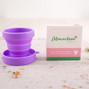 Esterilizador copa mestrual plegable de silicona Mimacup en lila