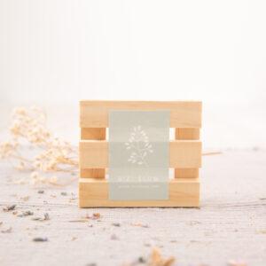Jabonera en madera de pino Bizi Slow cuadrado