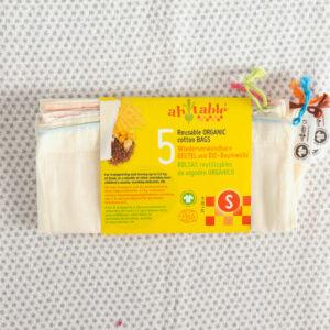 bolsas reutilizables y lavables algodon organico
