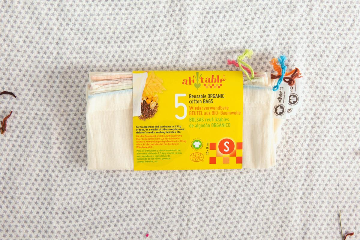 Kit 8 Bolsas reutilizables de algodón orgánico para