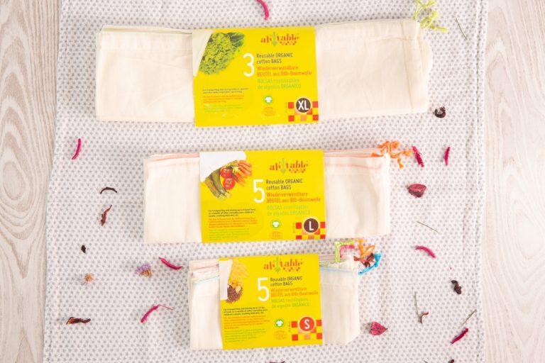 Pack de 3 bolsas de algodón ecológico XL de Ah table! en