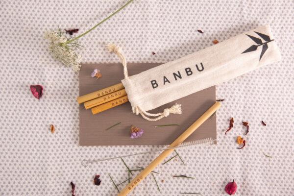 Bolsa porta pajitas en tela de Banbu