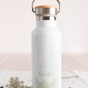 Botella térmica acero inoxidable en blanco de Bizi Slow