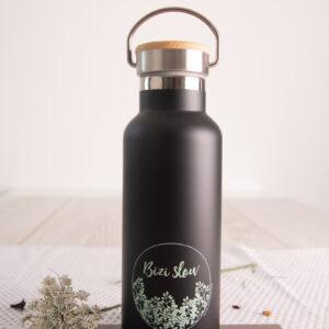 Botella térmica acero inoxidable en negro de Bizi Slow