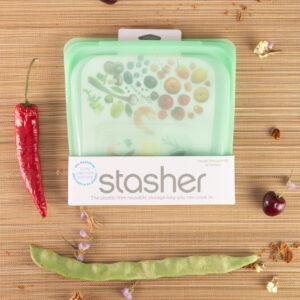 Bolsa silicona reutilizable Stasher 450 ml en verde
