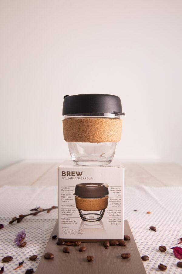 Vaso café reutilizable de vidrio con tapa Brew