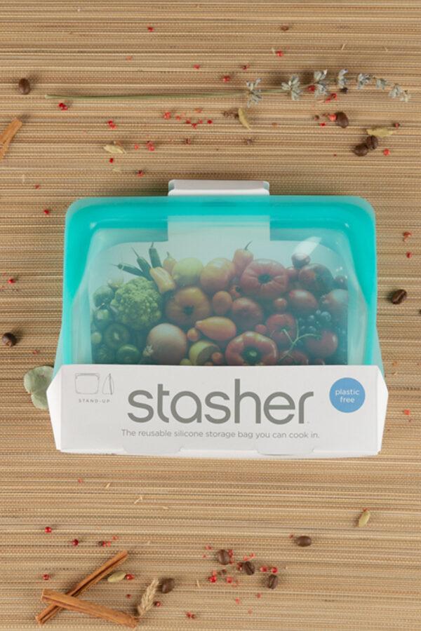 bolsa reutilizable silicona stasher 1.656 ml turquesa
