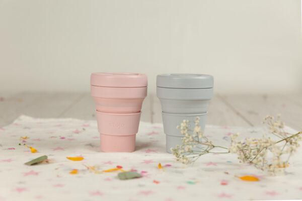 vaso plegable silicona con tapa