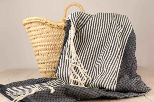 fouta toalla de algodón en color marino