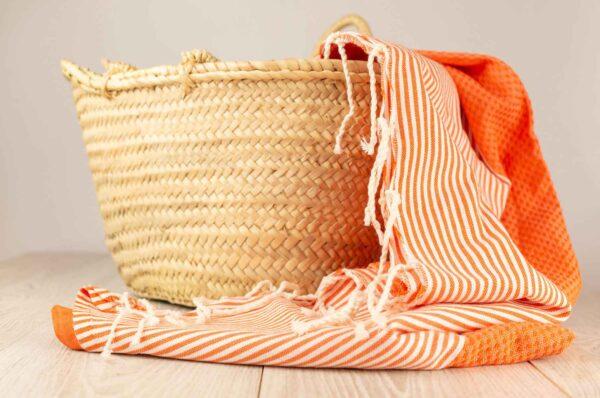 fouta toalla naranja en algodon