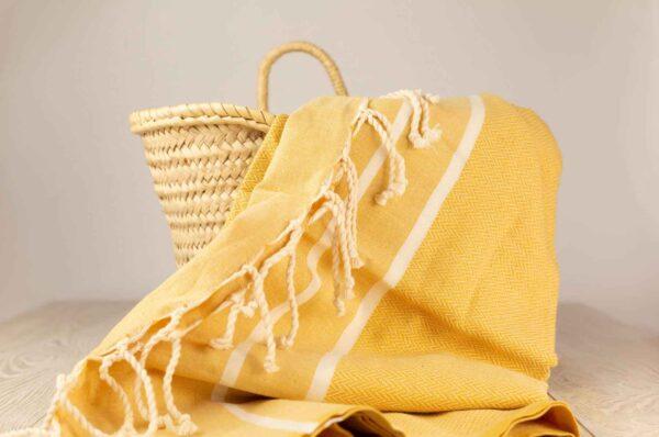 fouta toalla ocre de algodon