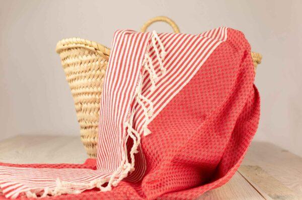 fouta toalla de algodon en rojo