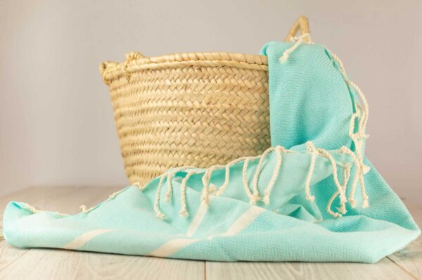 Fouta toalla turquesa de algodon